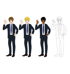 business man showing ok hand sign vector image vector image