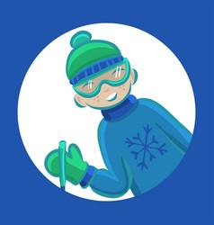 cartoon boy skiing in winter vector image