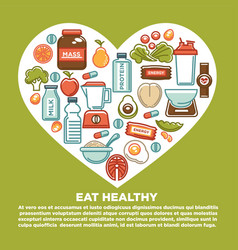 fitness healthy food heart poster of sport diet vector image vector image