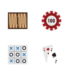 flat icon games set of x-o ace dice and other vector image vector image