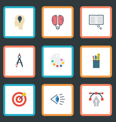 flat icons case arrow idea and other vector image