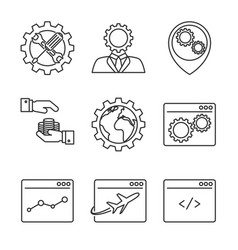 internet marketing line icons vector image vector image