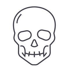 skull line icon sign on vector image