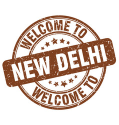 welcome to new delhi brown round vintage stamp vector image