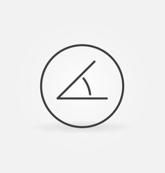 45 degrees angle in circle concept outline vector image