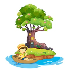 A boy boating vector