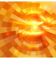 Abstract orange shining circle tunnel background vector