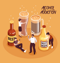 alcohol abuse isometric vector image