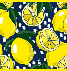 Allover lemons on navy with texture vector