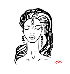 Aquarius zodiac beautiful fashion girl vector