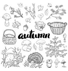 Autumn season set hand drawn doodles vector