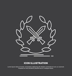 battle emblem game label swords icon line symbol vector image