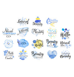Beauty and spa promo signs colorful set vector