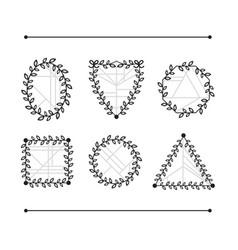 black line floral and geometric emblem shapes set vector image