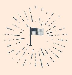 Black national flag usa on flagpole icon vector