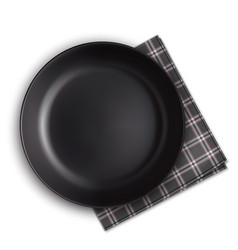black plate and napkin vector image