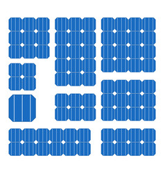 blue solar cell panel set on white background vector image