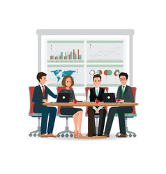 business people meeting at a big conference desk vector image