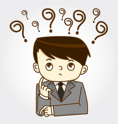 Businessman sitting under question marks vector