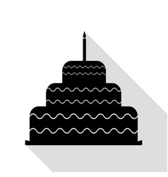 cake with candle sign black icon with flat style vector image