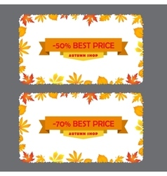 Card with discount 50 70 percent autumn flyer vector
