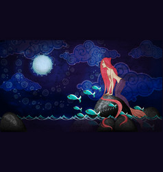 cartoon style mermaid sitting on stone in the vector image