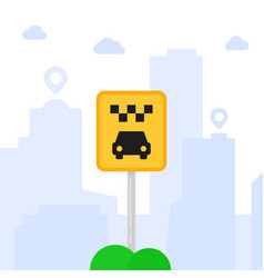 cartoon taxi parking sign in city vector image