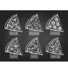 Chalk drawing pizza vector image