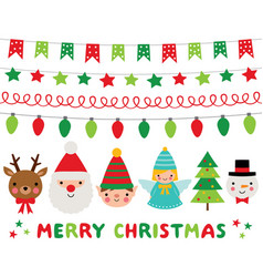 christmas characters santa deer elf angel vector image