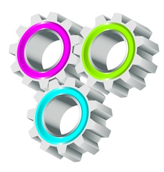 Colorful cog wheels vector