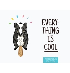 Cute badger popsicle ice vector