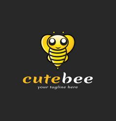 Cute bee logo vector
