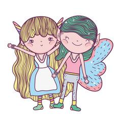 Cute little fairies couple characters vector