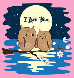 cute owls in love at moon night vector image