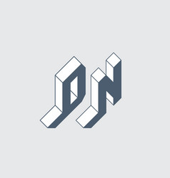 dn - 2-letter code d and n - monogram or logotype vector image
