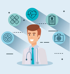 doctor with set icons vector image