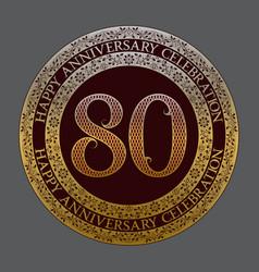 eightieth happy anniversary celebration symbol vector image