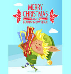 elf with gift boxes pile christmas and new year vector image