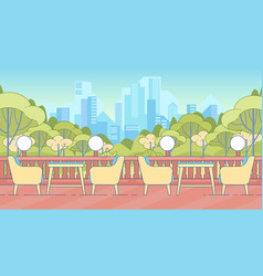 Empty table and chairs on terrace with balustrade vector