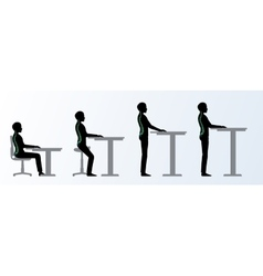 Ergonomic Height adjustable desk or table poses vector