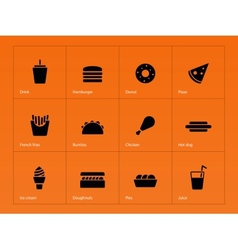 Fast food icons on orange background vector