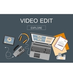 Flat design banner for video edition vector