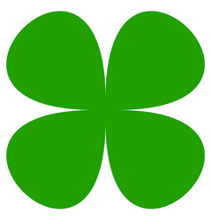 Four-leaf clover symbol simple flat icon for luck vector