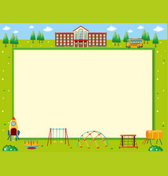 Frame design with school and playground vector