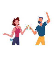 girl and guy with cocktails dancing at party happy vector image