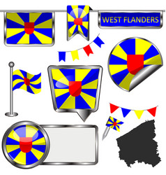 Glossy icons with flag of west flanders belgium vector