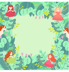 Green leaf magic compositions pattern round vector