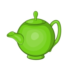 Green teapot icon cartoon style vector image