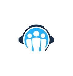 Group podcast logo icon design vector