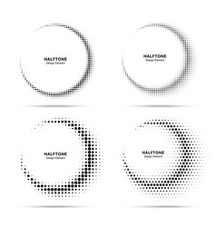 Halftone circle frame dots logo emblems set vector